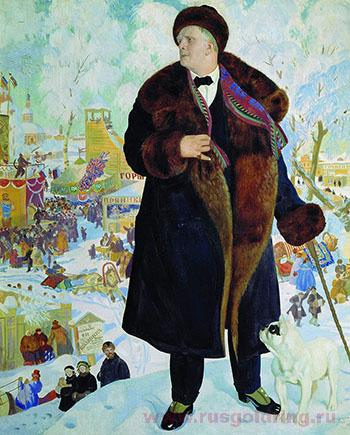 Борис Кустодиев. Портрет Федора Ивановича Шаляпина, Картина исполнялась дважды: в 1921 и 1922 году