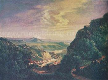"""""""Вид Пятигорска"""" М.Ю.Лермонтов. Масло. 1837г."""
