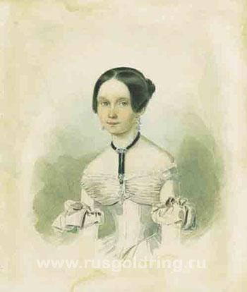 Д.Ф.Иванова - сестра таинственной Н.И. Акварель М.А.Кашинцева. 1834г.