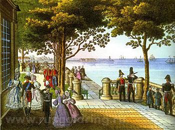 """""""Монплезир в Петергофе"""" с оригинала К. Беггрова (1837)."""