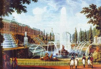 """""""Прогулка Александра I со свитой у Петергофского дворца."""" И.В.Ческий (1805-1806)."""