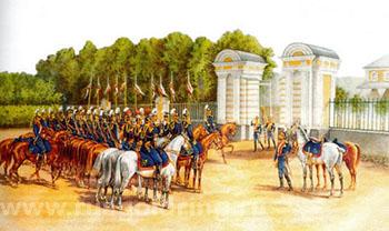 """""""Уланский полк у ограды Верхнего сада."""" (1908)."""