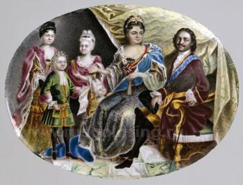 """""""Медальон с портретом императора Петра Великого и семьи"""" Григорий Musikiiskii 1717 г."""