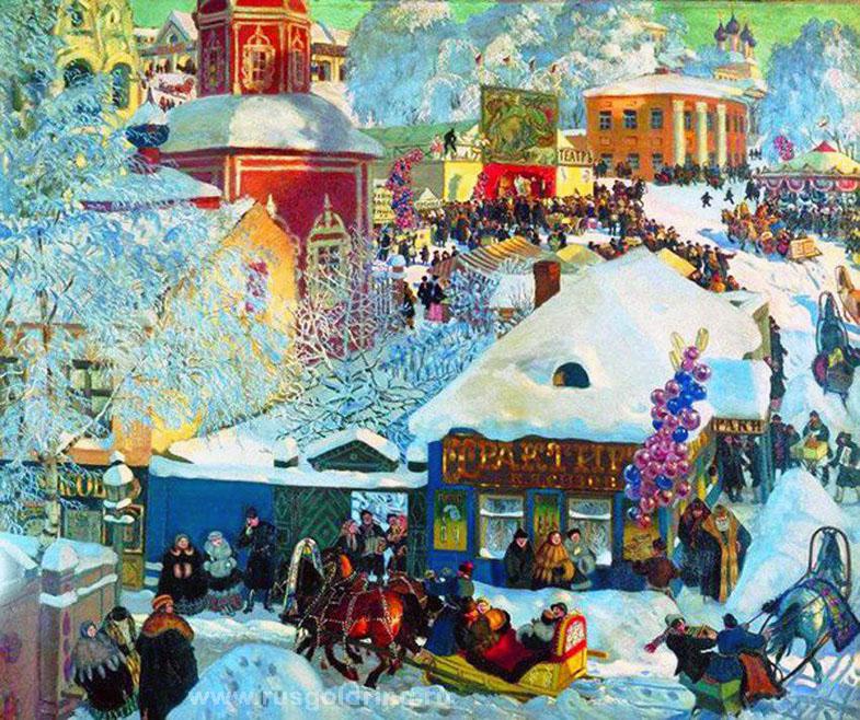 """""""Зима. Масленичное гулянье."""" Борис Кустодиев 1919 год"""